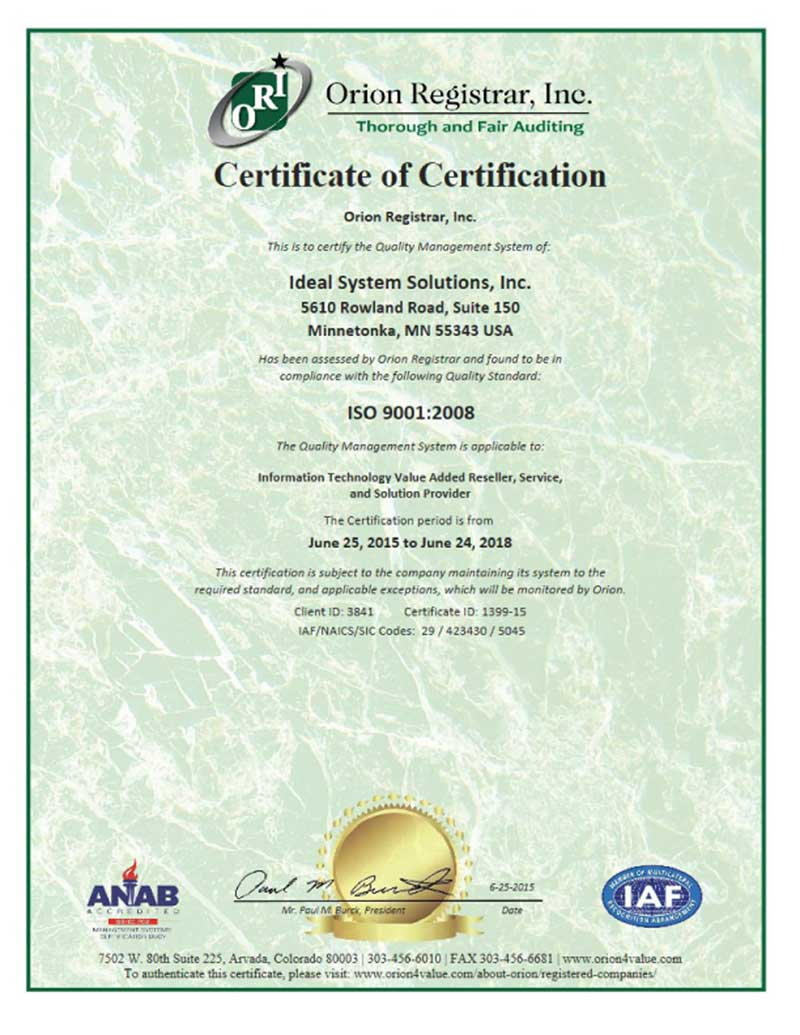 Ideal awarded iso 90012008 quality management certification issi certificate 3841 iso 9 xflitez Images