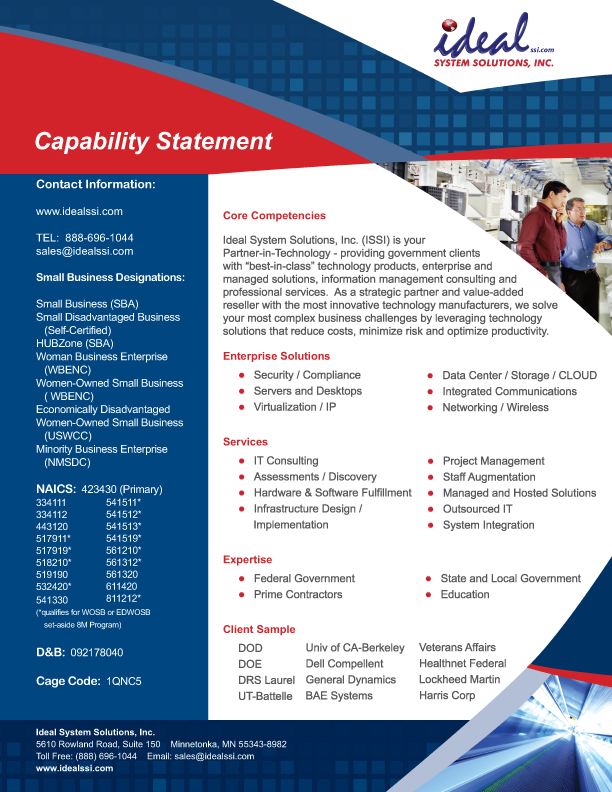 Capability Statement Ideal System Solutions Inc