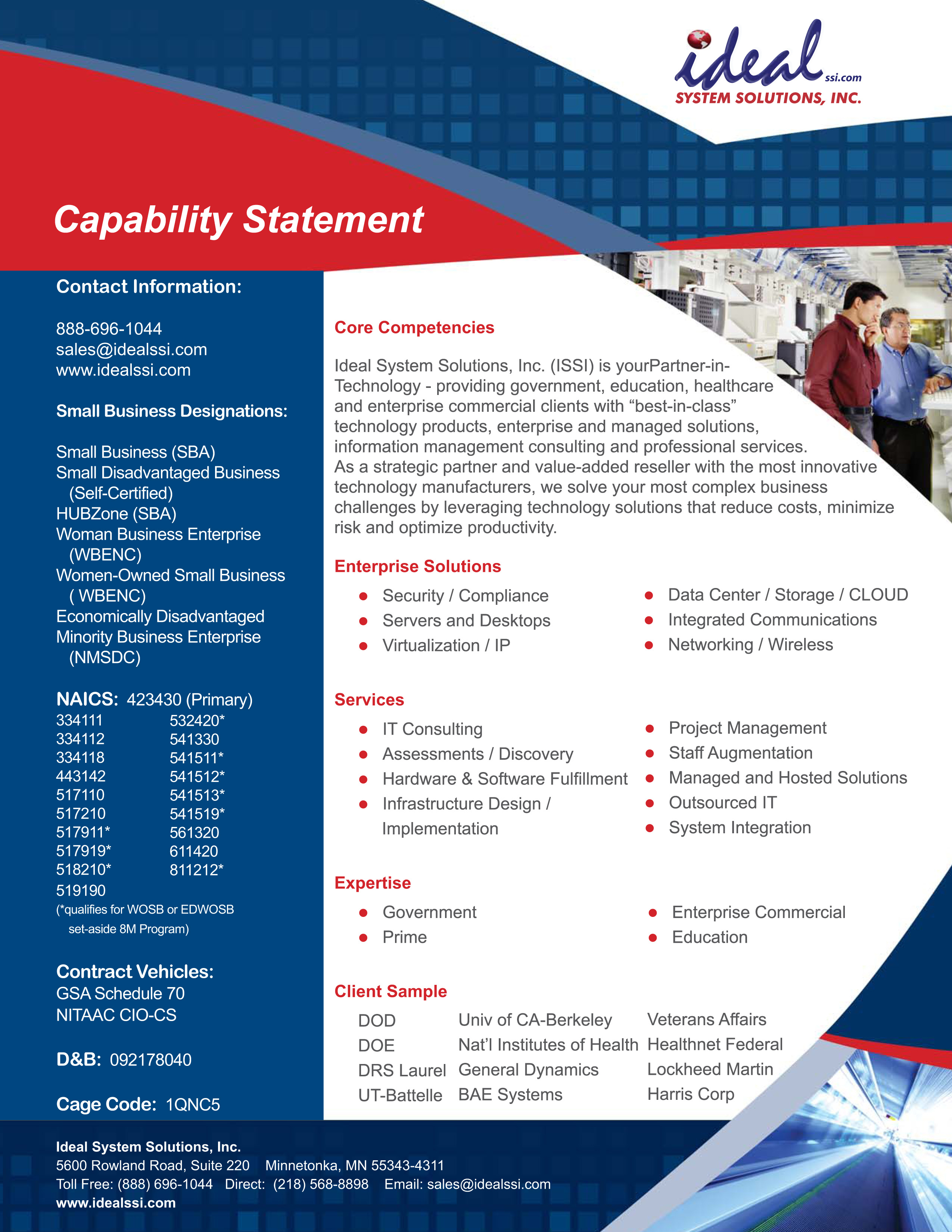 Capability Statement Ideal System Solutions Inc Ideal